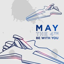 May The 4th Be With You Background Design. Vector Illustration.