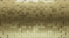 Polished, 3D Wall Background With Tiles. Gold, Tile Wallpaper With Luxurious, Square Blocks. 3D Render