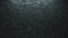 Semigloss Tiles Arranged To Create A 3D Wall. Rectangle, Concrete Background Formed From Futuristic Blocks. 3D Render