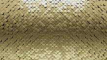 Luxurious, 3D Wall Background With Tiles. Polished, Tile Wallpaper With Fish Scale, Gold Blocks. 3D Render