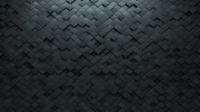 Polished, Futuristic Wall Background With Tiles. 3D, Tile Wallpaper With Concrete, Arabesque Blocks. 3D Render