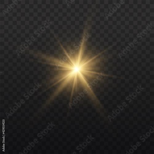 Star burst with light, yellow sun rays.  - fototapety na wymiar