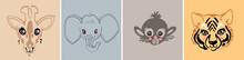 Giraffe, Elephant, Monkey, Tiger. Pastel Color T-shirt Print Sketch Baby Kidsr Animals Portrait. Cartoon Cute Animal Head Illustration. Vector Hand Drawing Doodle Logo Style.