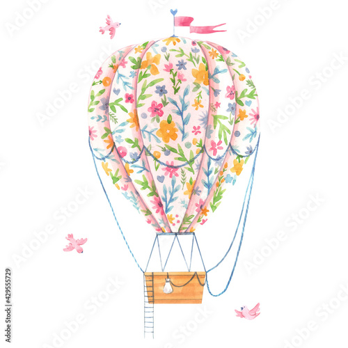 Beautiful image with cute watercolor hand drawn air baloon with gentle flowers. Stock illustration. - fototapety na wymiar