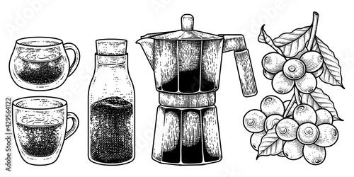 Obraz na plátně Sketch vector set of coffee maker tools