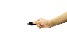 A Black Usb Thumb Drive Holding Man.