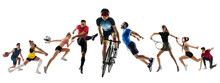 Collage Of Different Professional Sportsmen, Fit People In Action And Motion Isolated On White Background. Flyer.