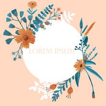 Elegant White Round Frame With Flowers And Light Orange Background.