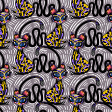 Rhythmic Exotic Artistic Folk Boho Contemporary Style Tropical Cat Seamless Pattern. Modern Kitty Animal Background.