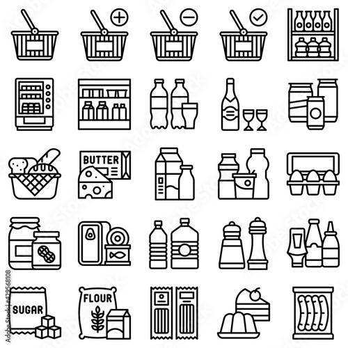 Fotografia Supermarket and Shopping mall related icon set 2, line style