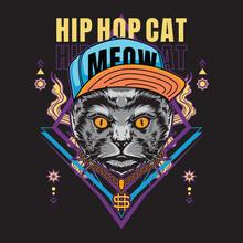 Hip Hop Cat Tshirt Design Vector Illustration Style