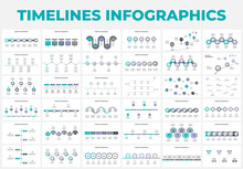 Creative Concept Set For Infographic Timeline. Abstract Elements Of Graph, Diagram With 5, 6, 7 And 8 Steps, Options, Parts Or Processes. Vector Business Template For Presentation