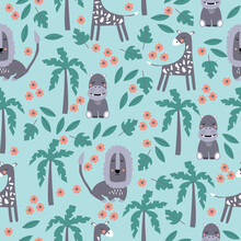 Seamless Pattern Of Wild Animals Like Lion, Giraffe And Hippopotamus As Well As Jungle Fauna Like Palms, Tropical Leaves And Flowers. Childrens Vector Illustration