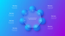 Glassmorphism Heptagon Infographic Concept With 3d Geometric Shapes. Frosted Glass Effect. Illustration On Blurred Gradient Vector Background