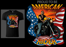 T-shirt Design American Rider With Motorcycle And American Flag On Red Sky - Colored Illustration Isolated On Black Background, Vector