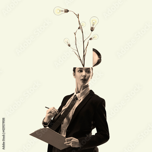 Fototapeta Contemporary art collage, modern design. Retro style. Beautiful woman in office suit with head, full of ideas and flowers, inspired obraz