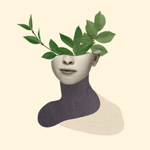 Contemporary Art Collage, Modern Design. Retro Style. Beautiful Female Face With Green Leaves Of Plant On Pastel Yellow Background.