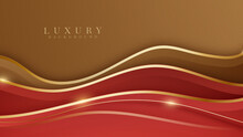 Golden Curves On Red Shades Overlap Brown Color Background. Realistic Luxury Design Style 3d Modern Concept. Vector Illustration.