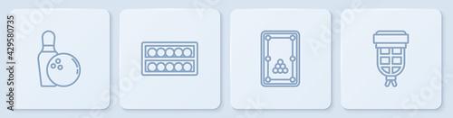 Slika na platnu Set line Bowling pin and ball, Billiard table, balls on stand and pocket