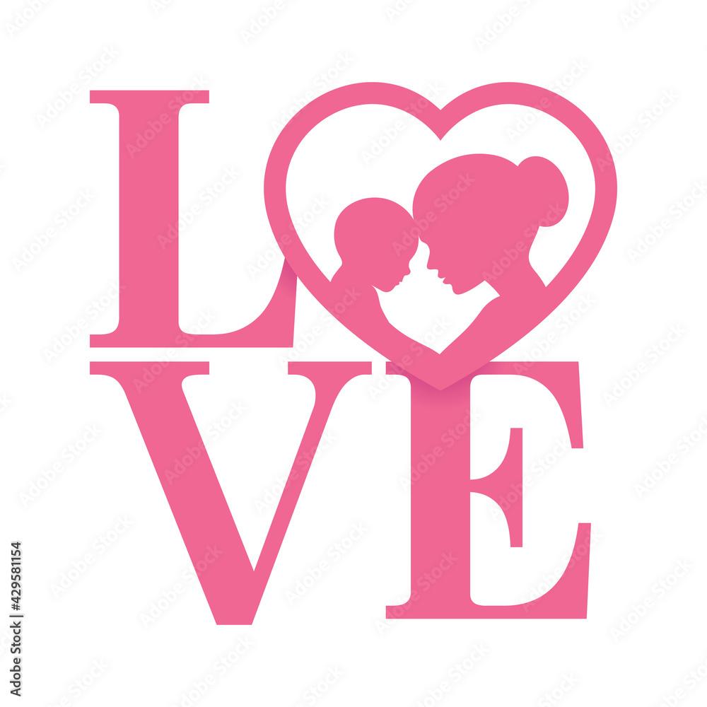 Fotografie, Obraz Vector pink LOVE logo with heart