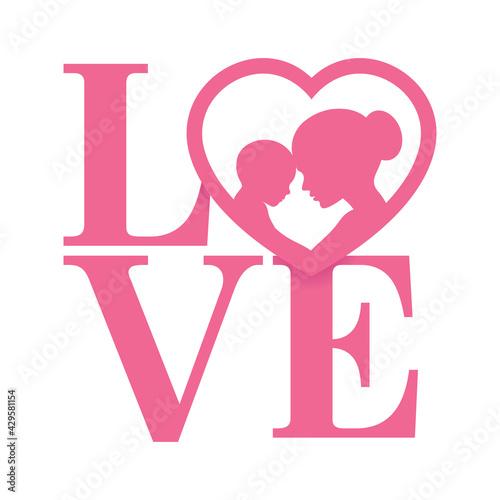 Obraz na plátně Vector pink LOVE logo with heart