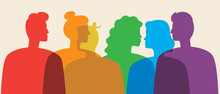 LGBTQ People Rainbow Color Silhouette Vector Stock Illustration With Homosexuals, Lesbians And Gays As LGBTQ Community
