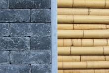 Mauer Aus Dicken Bambusrohren Und Schwarzen Steinen