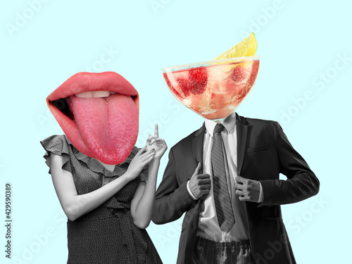 Contemporary art collage, modern design. Retro style. Couple headed with tasty cocktail with berries and big female mouth on pastel background