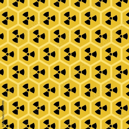 Obraz na plátně Honeycomb with radioactive yellow honey vector pattern
