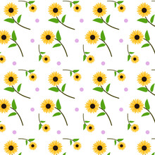 Seamless Pattern Of Sunflower With Leaves And Polkadot Vector Background