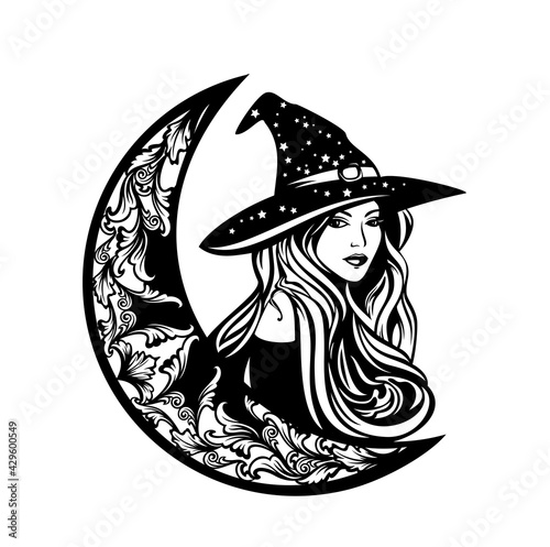 Carta da parati beautiful witch with long hair wearing traditional hat and crescent moon - astro