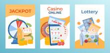 Concept Gambling Postcard Banner Set, Modern Online Jackpot Casino, Large Sum Lucky Lottery Game Flat Vector Illustration.