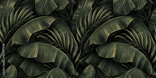 Obraz Tropical exotic seamless pattern with golden green banana leaves, palm on night dark background. Premium hand-drawn textured vintage 3D illustration. Good for luxury wallpapers, cloth, fabric printing - fototapety do salonu