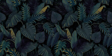 Botanical Illustration. Tropical Seamless Pattern. Rainforest, Jungle. Palm Leaves, Monstera, Colocasia, Banana. Hand Drawing For Design Of Fabric, Paper, Wallpaper, Notebook Covers