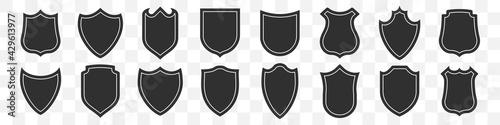 Fototapeta Set of shields icon on a transparent background