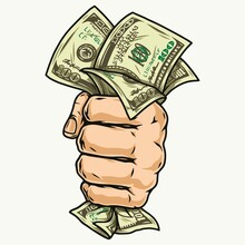Male Hand Holding Dollar Bills