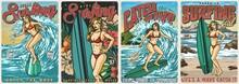 Ocean Surfing Vintage Colorful Posters