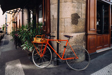 Cozy Street With Old Bicycle In Paris, France. Architecture And Landmarks Of Paris. Postcard Of Paris