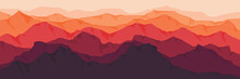 Sunset Mountain Flat Design Vector Illustration Good For Wallpaper, Background, Web Banner, Tourism Banner Template, Apps Background And Backdrop Design Template