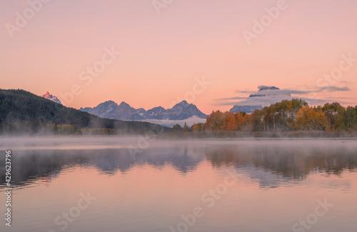 Fotografie, Tablou Scenic Reflection Landscape in Grand Teton National Park Wyoming in Autumn