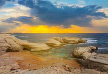 Beautiful Stony Emerald Sea Bay At The Dramatic Sunset