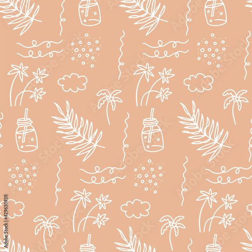 Fototapeta Sunner beach seamless pattern. Beautiful Summer vacation holiday beige sand color icons in hand drawn linear doodle style for fashion fabric. obraz