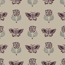 Handmade Carved Block Print Butterfly Seamless Pattern. Rustic Naive Folk Silhouette Illustration Background. Modern Scandi Style Decorative. Ethnic Textiles, Primitive Fashion All Over Design.