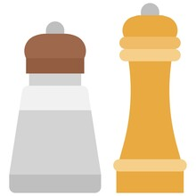Salt And Pepper Shakers Icon, Supermarket And Shopping Mall Related Vector