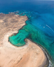 Aerial View Of Isla De Lobos, A Paradise Small Island Near La Oliva, Canary Islands, Spain.