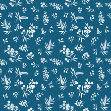 Floral Pattern. Pretty Flowers On Blue Background. Printing With Small White Flowers. Ditsy Print. Seamless Vector Texture. Spring Bouquet.