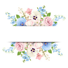 Vector White Banner With Pink, Blue And White Pansy Flowers, Lisianthus Flowers And Forget-me-not Flowers.