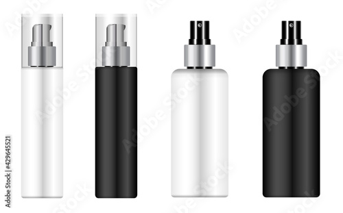Obraz Cosmetic mousse bottle, pump dispenser pack mockup. Spray packaging blank, plastic 3d container template. Hairspray beauty product isolated. Realistic skin care aerosol bottle - fototapety do salonu