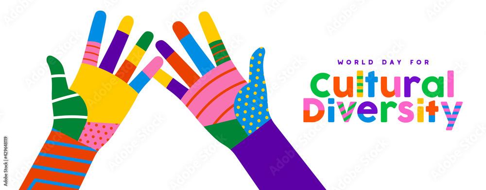 Fototapeta Cultural Diversity day colorful high five hand