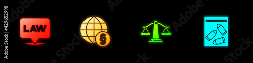 Canvas Print Set Location law, International, Scales of justice and Evidence bag and bullet icon